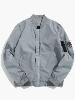 Line Print Lightweight Bomber Jacket - Light Gray S