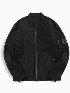 Line Print Lightweight Bomber Jacket - Black S
