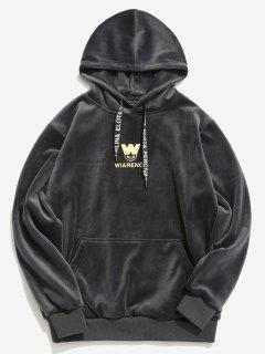 Chest Letter Graphic Velvet Hoodie - Dark Gray M