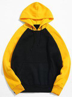Color Block Pocket Fleece Hoodie - Black L