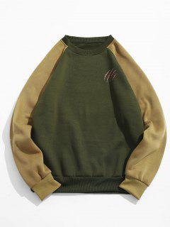 Scratch Print Color Block Fleece Sweatshirt - Army Green M