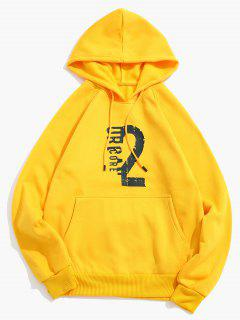 Number Letter Print Fleece Hoodie - Bright Yellow L