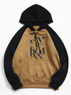 Raglan Sleeve Contrast Letter Fleece Hoodie - Brown L