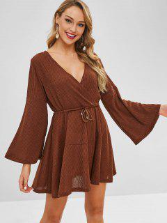 Flare Sleeve Surplice Mini Dress - Brown L