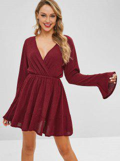 Flare Sleeve Knitted Surplice Dress - Red Wine L