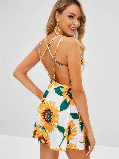 Sunflower Print Strappy Skater Mini Dress - Multi S