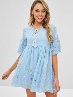 Broderie Anglaise Smock Dress - Blue L