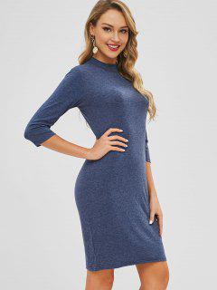 Mock Neck Knee Length Pencil Dress - Blue Gray M