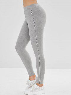 Striped Trim Elastic Waist Leggings - Gray