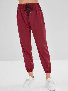 Plain High Waisted Jogger Pants - Red Wine L