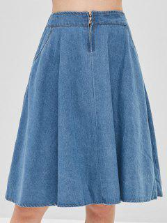 Zipper Fly Denim Skirt - Jeans Blue
