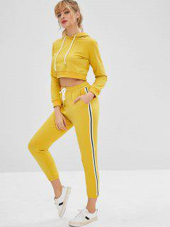 Crop Sport Gym Hoodie And Pants Set - Yellow L