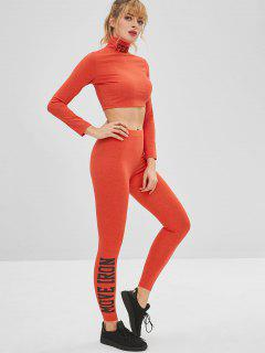 Crop Gym Yoga Tee And Leggings Set - Orange L