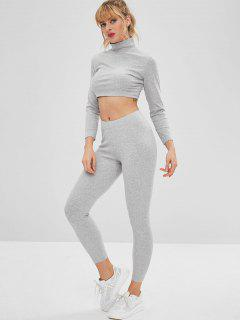 Gym Sport Crop Tee And Leggings Set - Gray L