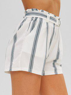 Striped Belted High Waisted Shorts - White L