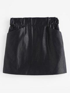 PU Leder Taschen Rock - Schwarz L