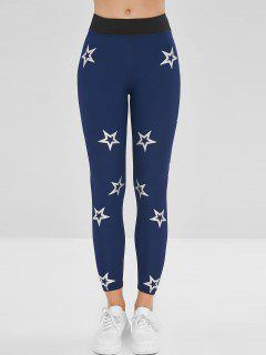 Star Graphic Gym Workout Leggings - Blue M