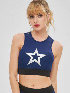 Star Graphic Padded Yoga Sport Bra - Blue L