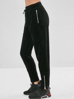 ZAFUL Velvet Zipper Pantalones Con Cordón - Negro L