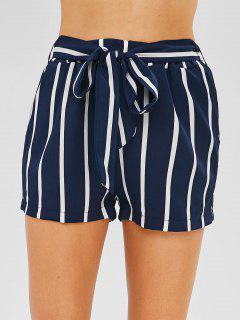 Side Pockets Striped Shorts With Belt - Lapis Blue M
