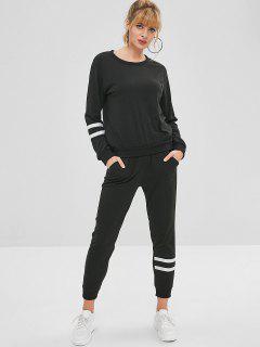 Stripes Panel Sweatshirt And Pants Set - Black M
