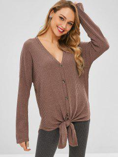 Button Up Knotted Hem Cardigan - Puce S