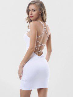 Criss Cross Backless Bodycon Dress - White M