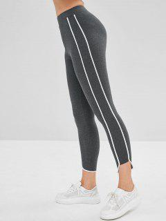 Contrast Side Elastic Skinny Leggings - Gray