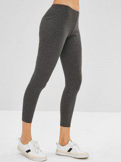 Ribbed Knit Mid Rise Leggings - Gray
