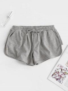 Bowknot Embellished Dolphin Shorts - Gray L