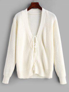 Pullover Mit V-Ausschnitt Und Schnürung - Weiß