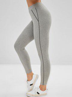 High Rise Contrast Trim Leggings - Gray
