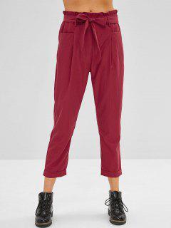 Pantalon Droit à Robords Avec Ceinture - Rouge Vineux S