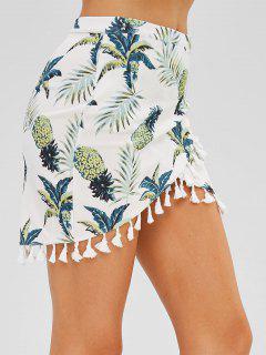 Mini Falda Cruzada Con Estampado De Piña - Multi S