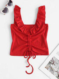 Ruffle Straps Cinched Crop Tank Top - Red M