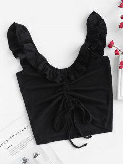 Ruffle Straps Cinched Crop Tank Top - Black M