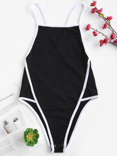 Combi-short Camisole Taille Haute Sans Dossier - Noir
