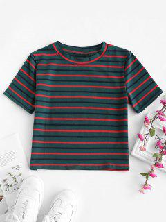Striped Short Sleeves Crop Tee - Green M