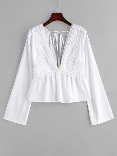ZAFUL Lace Panel Blusa De Corte Bajo - Blanco L