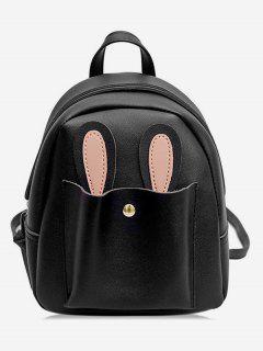 Bunny Ears Design Student Backpack - Black