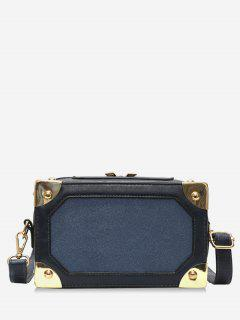 Square Box Shape Zipper Crossbody Bag - Dark Slate Blue