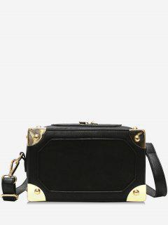 Square Box Shape Zipper Crossbody Bag - Black