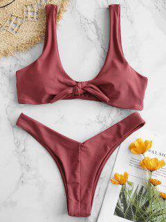 Bunny Tie Front Bikini Top Und Bottoms Set - Kastanie S