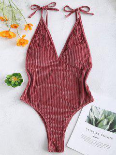 ZAFUL Velvet Ribbed Backless Swimsuit - Lipstick Pink M