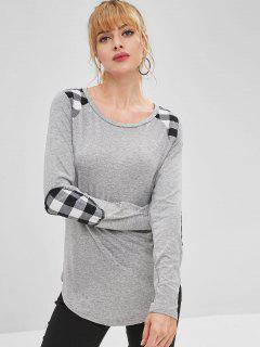 Checkered Elbow Patch Long Sleeve Tee - Light Gray S