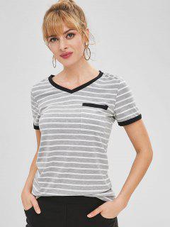 Striped Patch Pocket V Neck Ringer Tee - Gray M