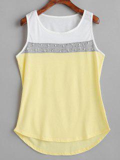 Camiseta Sin Mangas Con Perlas De Imitación Color Block - Crema Xl