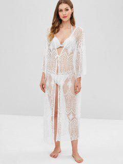 Sheer Lace Long Kimono Beach Cover Up - White