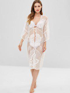 Floral Lace Sheer Kimono Beach Cover Up - White