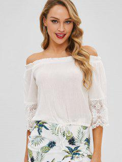 Lace Trim Bell Sleeve Off The Shoulder Top - White L